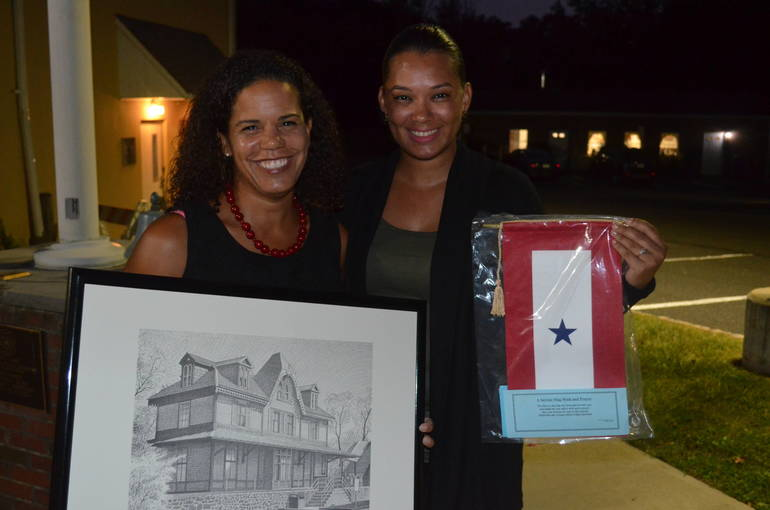 Michele Moore and Irasel Bueno after the Fanwood Council meeting on Monday evening.