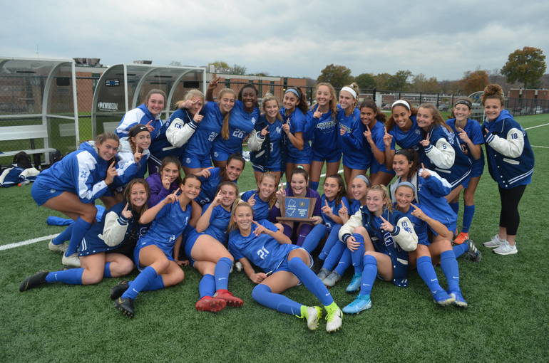 Scotch Plains-Fanwood girls soccer players celebrate after winning Sectional title last Thursday.