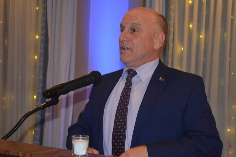 Honoree Dr. Jim Checcio speaks at the 2019 Scotch Plains Mayor's Gala.
