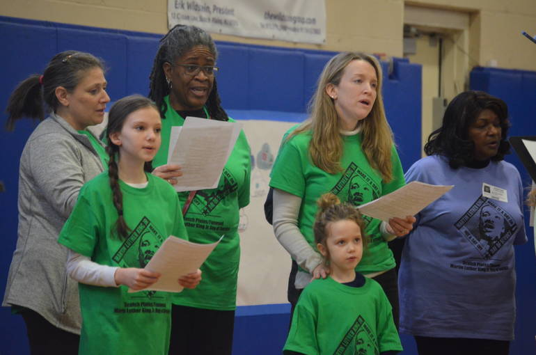 """Choir sings """"We Shall Overcome"""" at MLK Day of Service in Scotch Plains-Fanwood."""