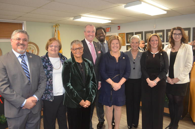 Fanwood Mayor Colleen Mahr and the Borough Council with Gov. Phil Murphy and U.S. Rep Bonnie Watson Coleman.