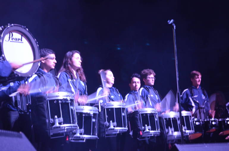 Scotch Plains-Fanwood High School marching band drummers play at Unforgettable Fire concert at the historic Wellmont Theater in Montclair.