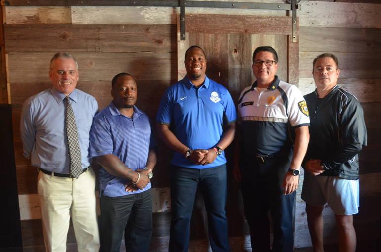 Bruce Moran, Shawn Johnson, Austin Holman, Police Chiefs Ted Conley of Scotch Plains and Richard Trigo of Fanwood