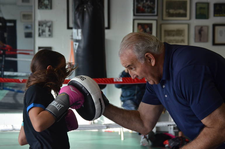 Gia Redling, 10, of Scotch Plains with Gerry Cooney