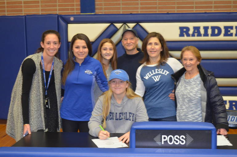 Scotch Plains-Fanwood girls hockey star Cassidy Novello with her family and coaches.