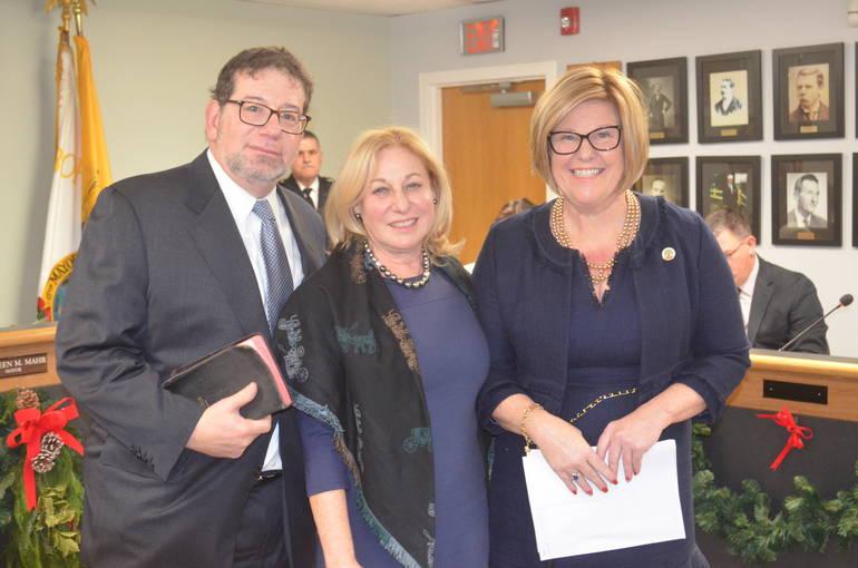 Fanwood Mayor Colleen Mahr swears in public defender Jill La Zare.