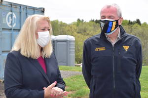 Gov. Phil Murphy and State Health Commissioner Judith Persichilli Visit County's Rt. 12 Drive Through Vaccination Clinic, Praising Hunterdon's Leadership