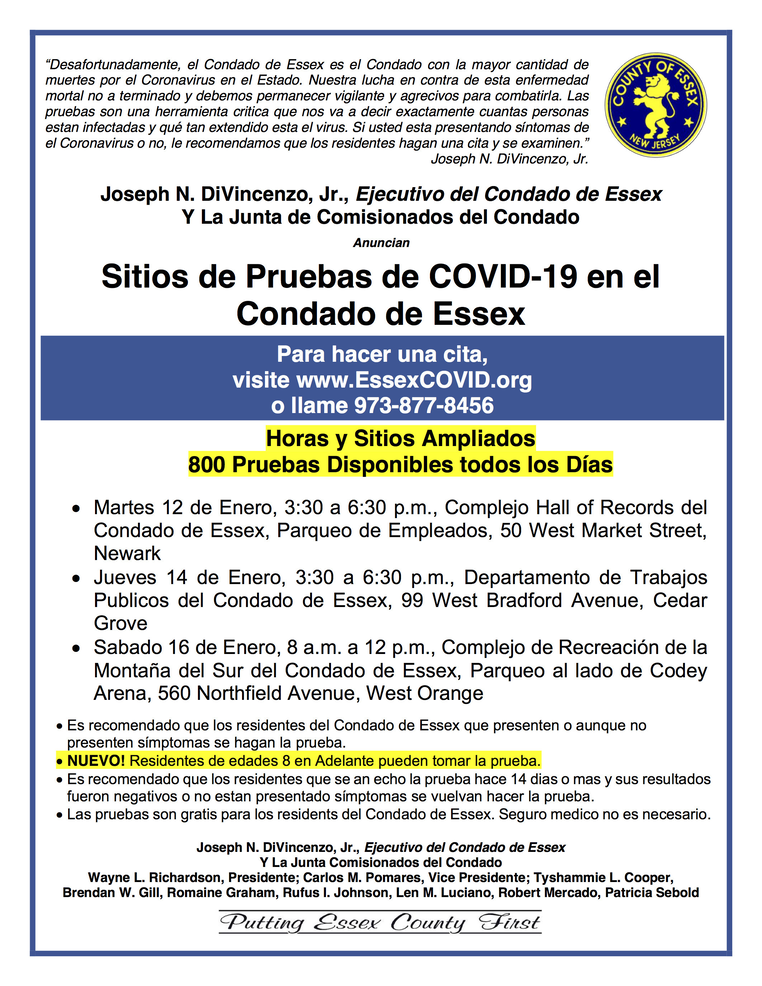 Essex County Coronavirus Testing, Jan. 12-16