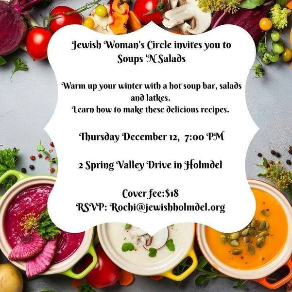 Jewish Woman's Circle invites you to Soups and Salads