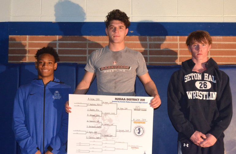 DWT - Scotch Plains-Fanwood's Noah Samms finished third in the District 16 wrestling tournament. - Copy.png
