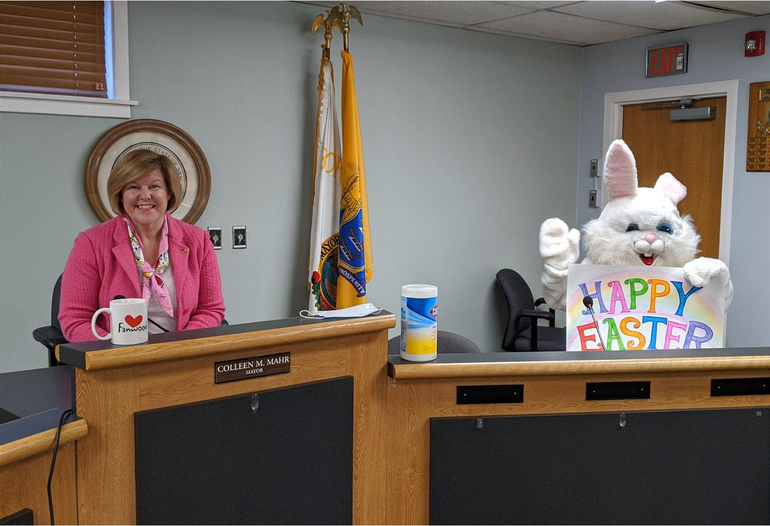 Fanwood Mayor Colleen Mahr had a special guest join in the Borough Council Chambers.