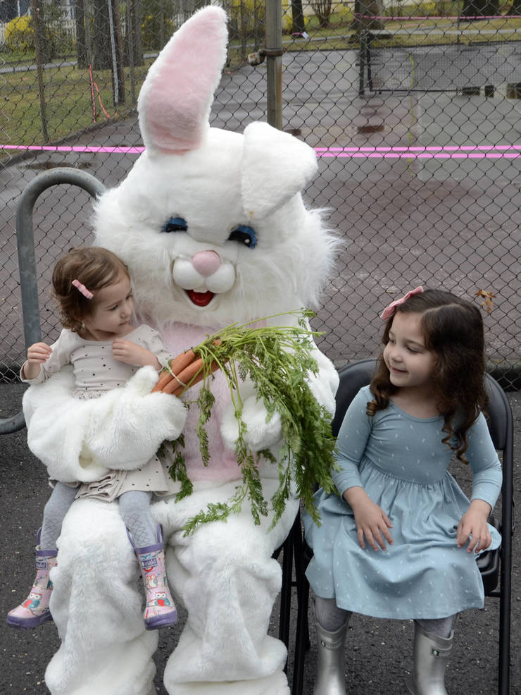 Easter Bunny poses for photos at the Fanwood Easter Egg Hunt on Saturday.