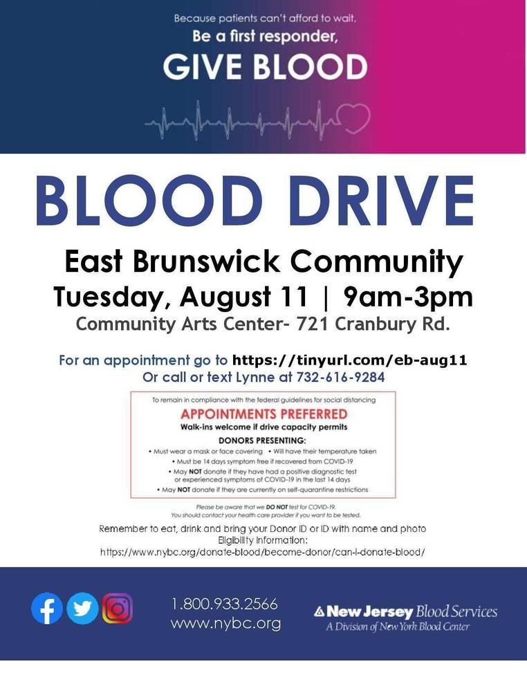 East Brunswick Community Arts Center is Hosting an Urgent Community Blood Drive on Tuesday