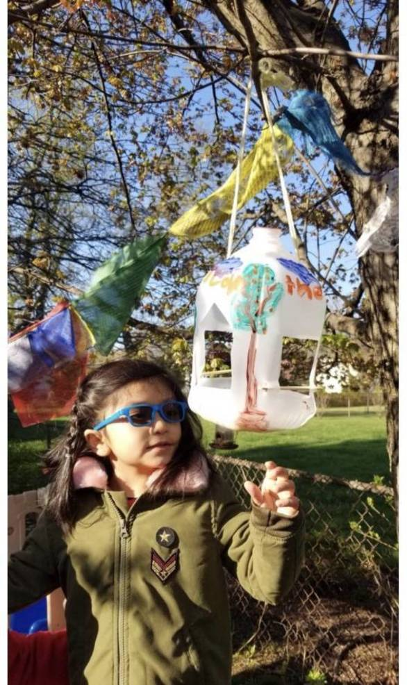 Aanvi Shrestha of Edison built a bird feeder as part of her Earth Day challenge.