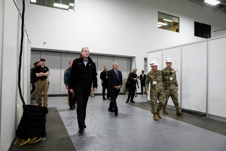 EDIT 2020 NJ Gov Phil Murphy tours Meadowlands Expo field medical station on Thurs April 2 2020 by Gov Murphy's office 2.jpg