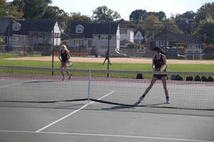 Hasbrouck Heights girls tennis, first doubles, Meg Shaw, Victoria Todd
