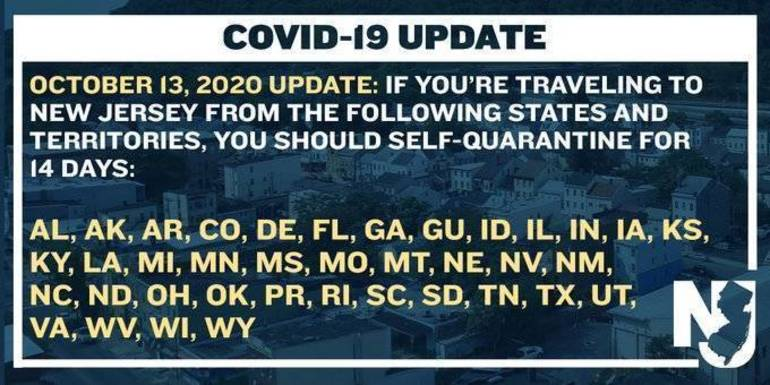New Jersey's Travel Advisory List; List Now Includes 38 States and Territories