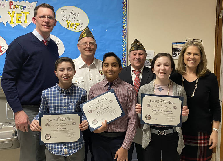 EMS Patriots Pen Winners with VFW and Staff.JPG