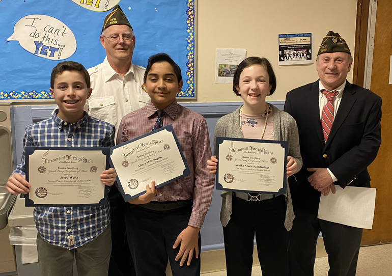 EMS Patriots Pen Winners with VFW.JPG