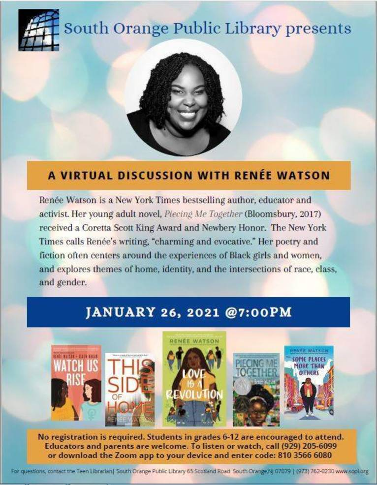 Author and activist Renée Watson to speak virtually at South Orange Library