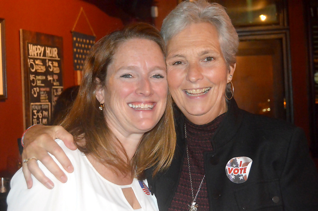 Erin McElroy-Barker and Trisha Walsh celebrate on Election Night.png