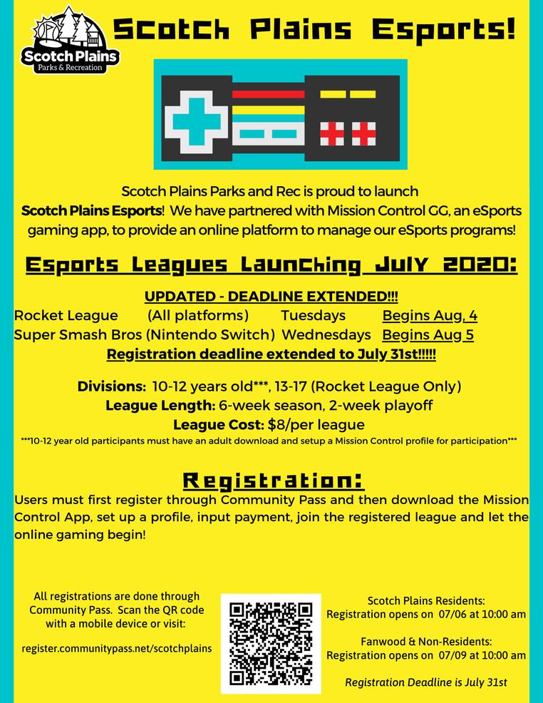 Scotch Plains Recreation Esports League information