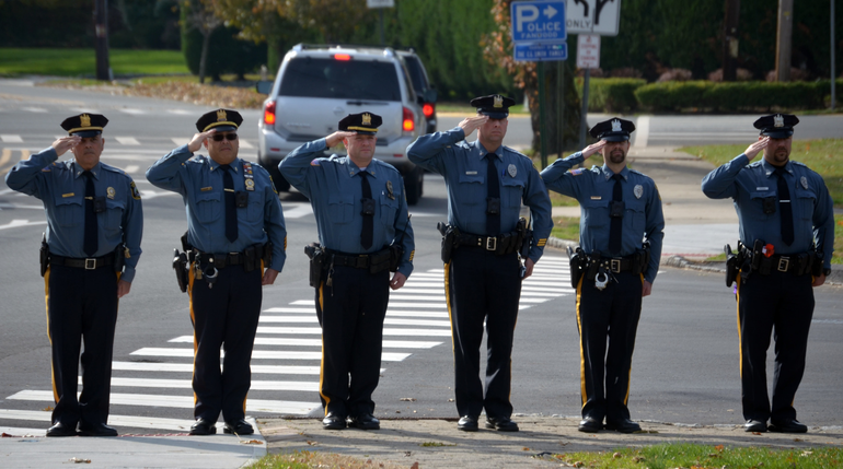 Fanwood Police salute at Veterans Day ceremonies in Fanwood.