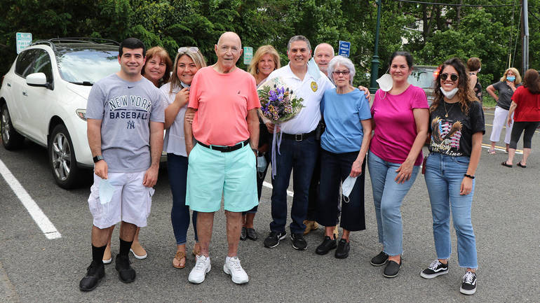Fanwood Lt. Frank Marrero is joined by his family on his last day on the police force.