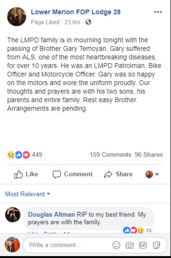 Facebook posting by the Lower Merion FOP LOdge 28 on 2-16-2019.PNG