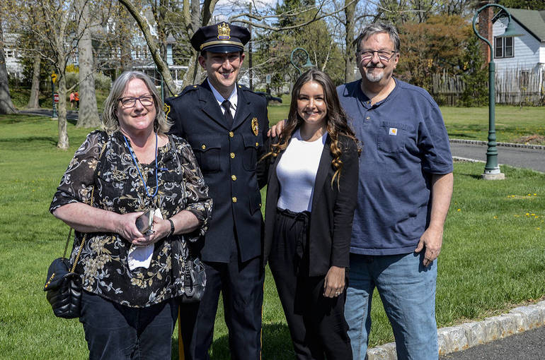 Fanwood police lieutenant Dan Kranz with parents, Marianne and Tom, and wife, Holly.