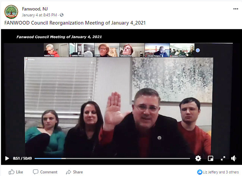 Fanwood Councilman Jeff Banks is sworn in via Zoom.