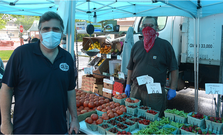 Scotch Plains Councilman Ted Spera and George Asprocolas from Asprocolas Acres at the Scotch Plains Farmers Market on Saturday, May 23.