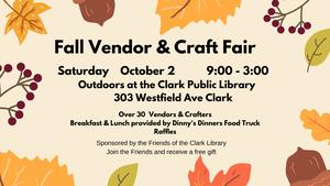 Clark Public Library to Host Outdoor Vendor and Craft Fair