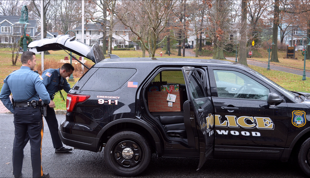 Top story c774af23f8180eb78728 fanwood giving tree   bernard and kranz load police car filled with 75 toys for children