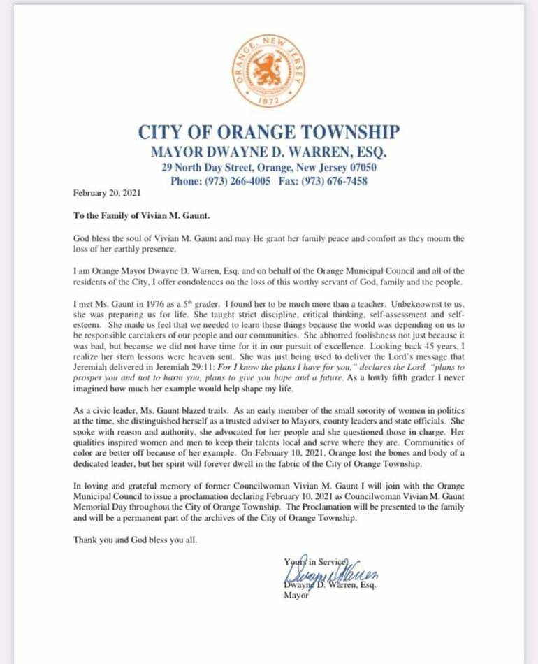 Open Letter from Mayor Warren Honoring the Life and Legacy of Vivian M. Gaunt Upon Her Passing