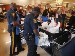 Police Bag Groceries at East Orange Shoprite