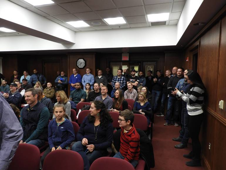 Fellow LEO's and family members supporting Red Bank's newest Police Officer, Patrolman Taylor Doremus.jpg