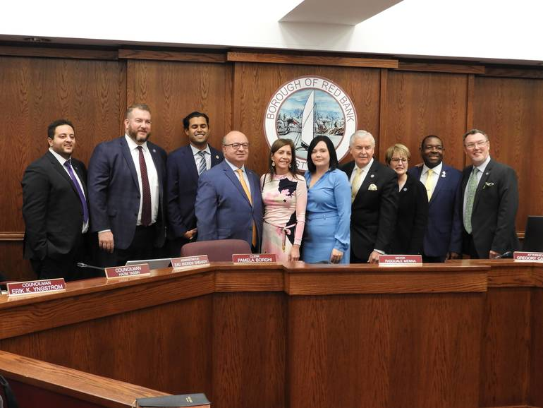 First Lady Tammy Murphy (middle in pink dress) with Red Bank Council and Senator Vin Gopal and Assemblyman Eric Houghtaling.jpg