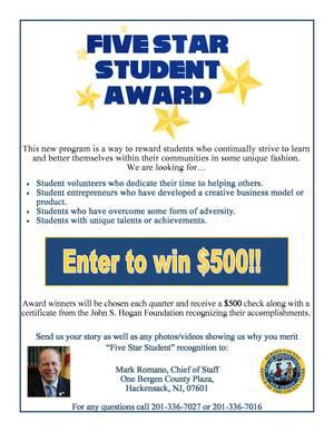 Carousel image 6c475c6a5de8cb43f5a4 five star student award