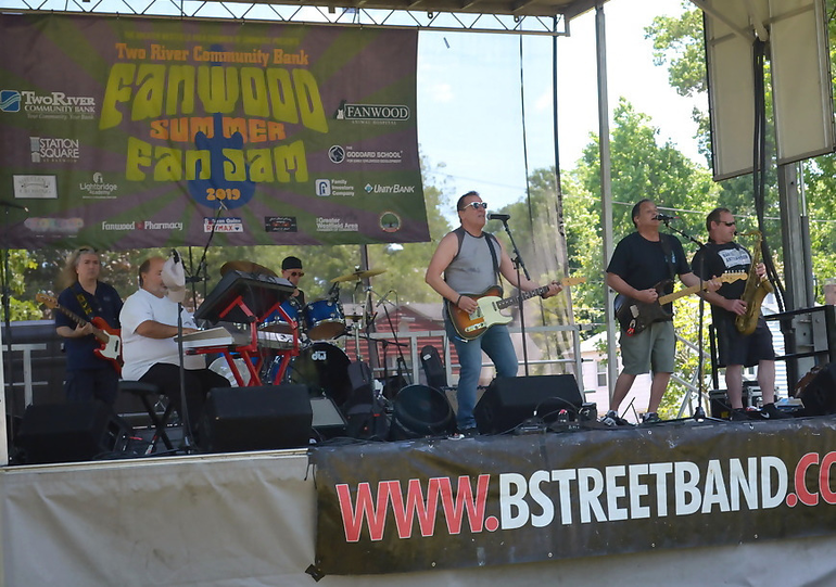 Fanwood's Glenn Stuart (center) of B Street Band at FanJam
