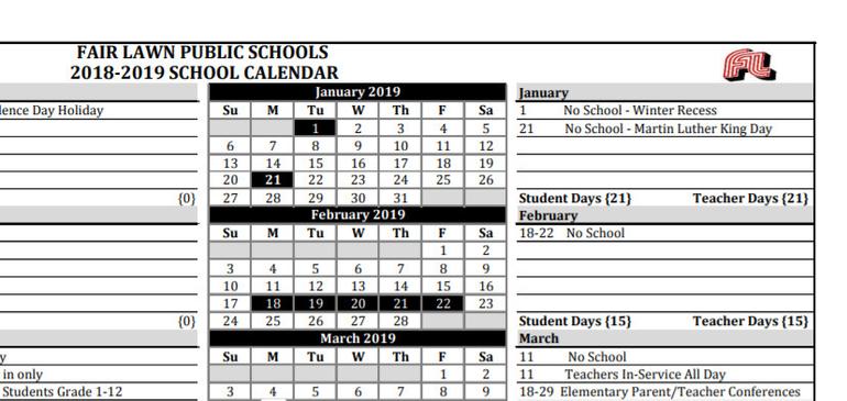 New Hanover County School Calendar.Fair Lawn Trustees Approve 2019 2020 School Calendar Tapinto