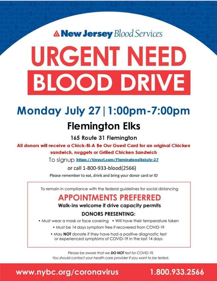 Urgent Need for Flemington Blood Donors on 7/27!  Chick-fil-A giveaway