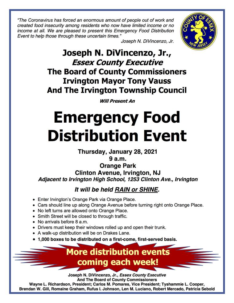 Next Essex County Food Distribution in Irvington on Jan. 28