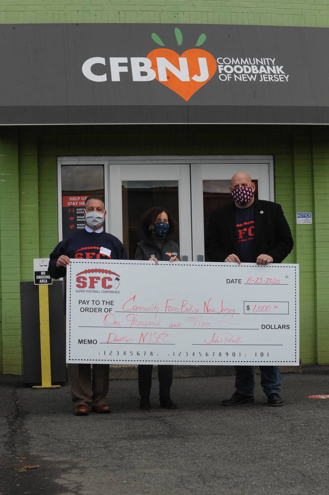 Members of Super Football Conference Donate $1,000 to Community FoodBank of New Jersey