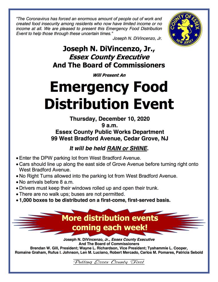 Next Essex County Emergency Food Distribution Dec. 10 in Cedar Grove