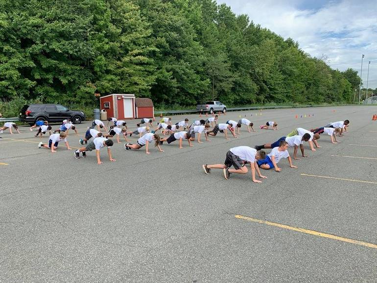 "Scenes from ""Get Fit with Fanwood's Finest,"" a community relations effort by the Fanwood police that was funded by the First Responders Children's Foundation."