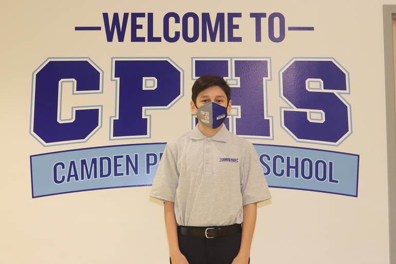 Frank Santiago, a freshman at Camden Prep High School, participates in the high school's robotics program.
