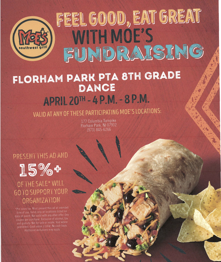 Dine Out at Moe's to Help Support Florham Park's 8th Grade Dance