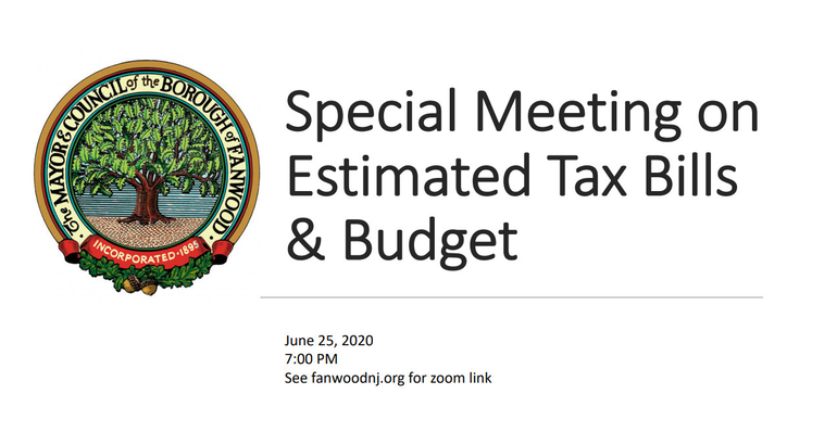 Fanwood held a special Town Hall meeting on Estimated Tax Bills.