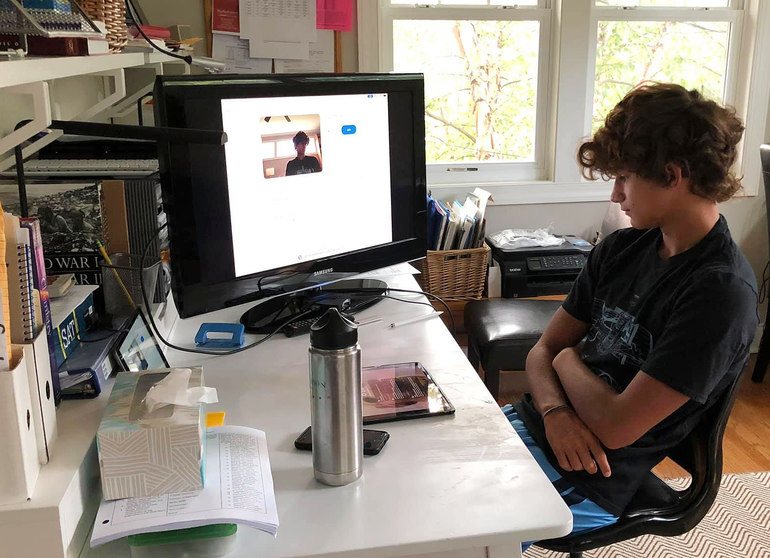 Gavin Morrobel started his junior year at Scotch Plains-Fanwood HS remotely.